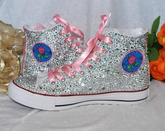 2f34a8fe4e1a Inspired Beauty and the Beast Crystal Covered Canvas Converse Hi-Top Pumps  Shoes Wedding Bridal Personalised