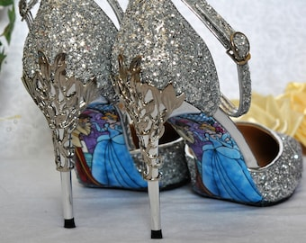 069e33809fe5 Silver Glitter Wedding Shoes with Metal Leaf Detailing. Handmade Sandals  Heels with Cinderella Soles. Various Colours