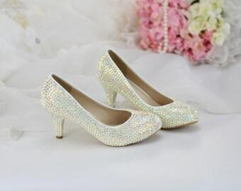 af5a173d57e2 Swarovski Crystal Wedding Cinderella Style Heels - Custom Handmade Bridal  Shoes - Low Kitten heel