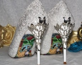 Designer Wedding Shoes, Glitter with Metal Leaf Detailing. Beautiful Bridal Heels Handmade with Beauty the Beast Soles - Various Colours