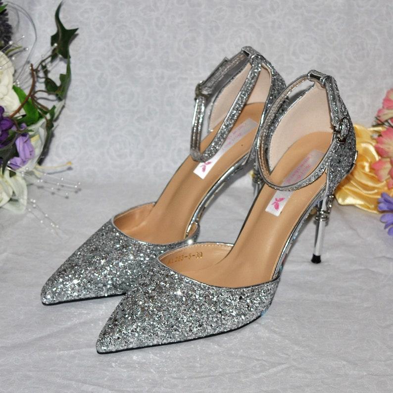 5b94ca0e2e27c Silver Glitter Wedding Shoes with Metal Leaf Detailing.