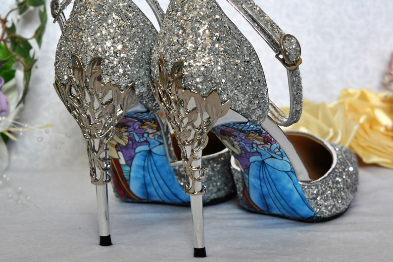 675a176b997 Silver Glitter Wedding Shoes with Metal Leaf Detailing.