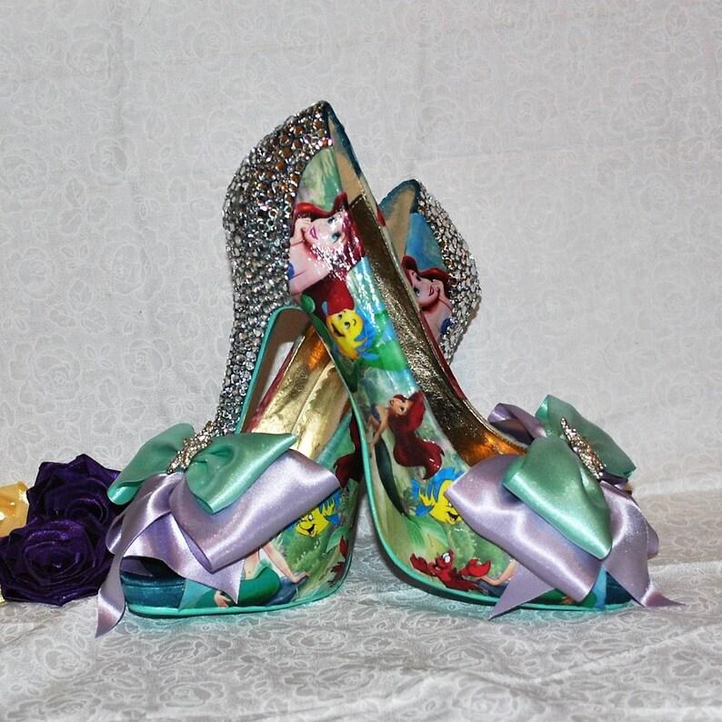 422669623ead5 Disney's Ariel Little Mermaid Inspired Crystal Heel Shoes - High Heel Teal  Shoe Handmade Luxury Wedding Bridal Prom Disney Costume Cosplay