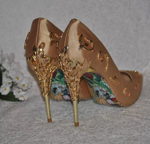 Gold Beauty And The Beast Wedding Shoes With Metal Leaf Etsy