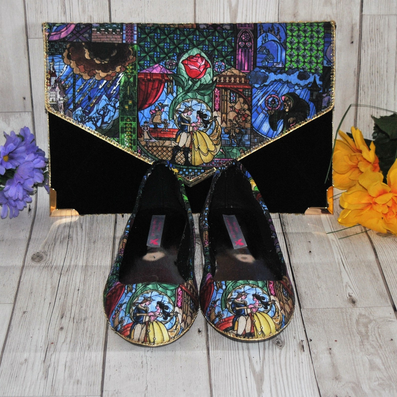 beauty and the beast stained glass fabric ballet flats and clutch bag - wedding party bridesmaid shoes