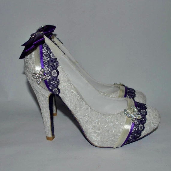 Lace Wedding Shoes with Custom Purple