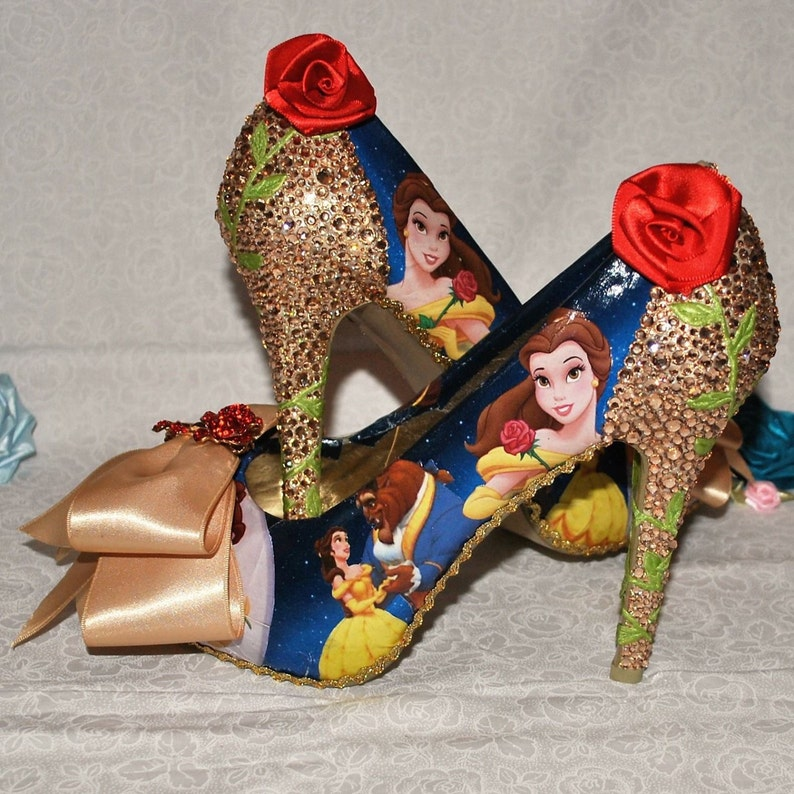 9ad9a654fd1f Disney Inspired Beauty and the Beast Shoes with Gold Crystal