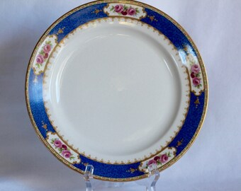 Vintage Allerton's Bone China design 4032 England  Blue and White Pink Lime Green Bone China Side Plate Display Collectible Rose Design Gold