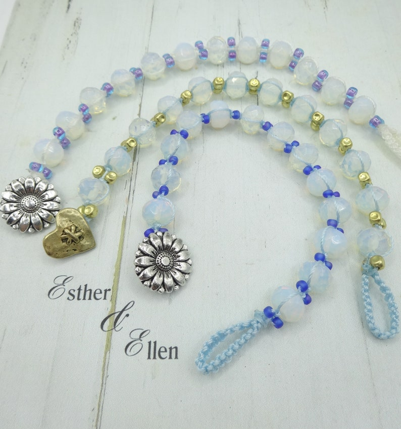 Knotted bracelet of Opaline faceted glass beads by Esther /& Ellen