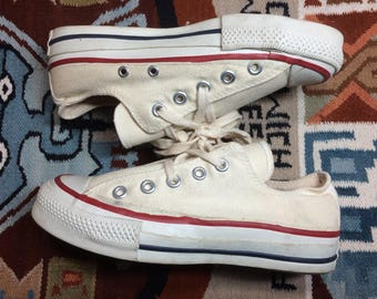 ecfc827bf83880 1980s Chuck Taylor Canvas Sneakers made in USA men s size 4 off white  Converse All Stars barely used