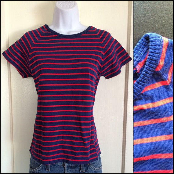 1960s woman's High Quality Cotton Striped T-shirt
