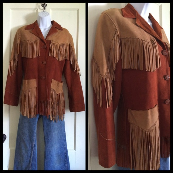 Vintage 1940's Women's Two Tone brown suede Fringe
