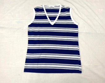 1960s 1970s nautical striped cotton tank top looks size S 17x23 semi cropped by Queen Casual
