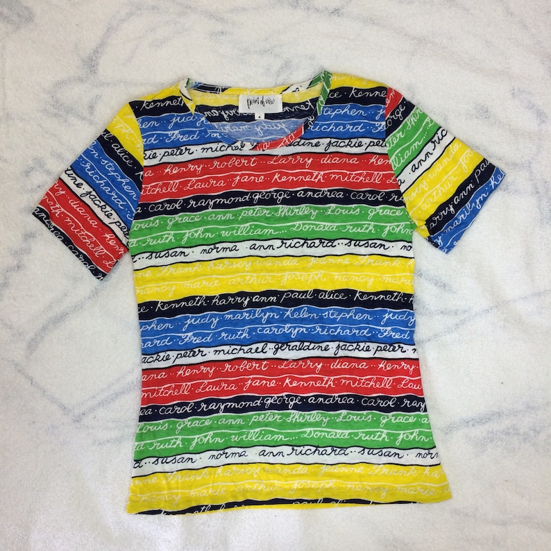 63e92aaa345 deadstock 1970s colorful striped woman's t-shirt size small names in script  writing Jackie Andrea Diana Susan Helen Marilyn and more NOS NWT