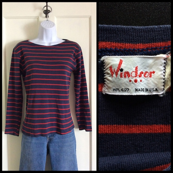 1960s French Sailor Striped Long Sleeve Boat Neck