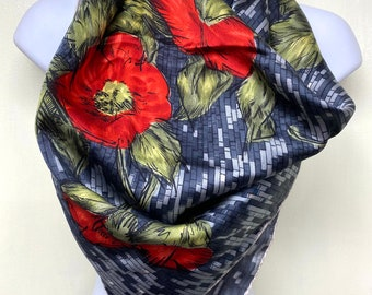 """Vintage large hand rolled silk scarf 29"""" square bright red poppy flowers gray brick pattern"""