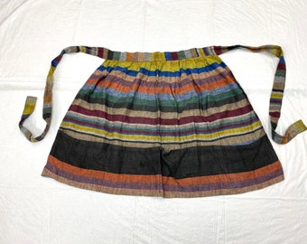 1960s hand woven madras apron colorful stripes 4 pockets made in India