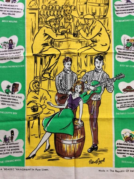 Deadstock 1950's tea towel Irish Ballads Beer Drinking Musicians Beatnik  Bar Scene Songs NOS Irish Folk Music Beadec Handprint Pure Linen