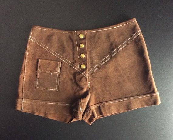 Vintage 1960's Brown Suede Short Shorts 29 inch wa