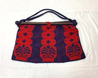 Antique crocheted handbag purse red navy blue with wood dowels and lining