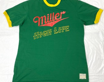 woman's 1970s Miller High Life Beer softball jersey t-shirt Sand-Knit #5 on back green polyester yellow ringer tee size L