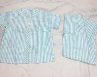 Deadstock 1950s cotton pajamas set size 40 XL Tall Girl Jamarettes by Sears Roebucks side snap high waist PJs blue aqua striped NWT NOS
