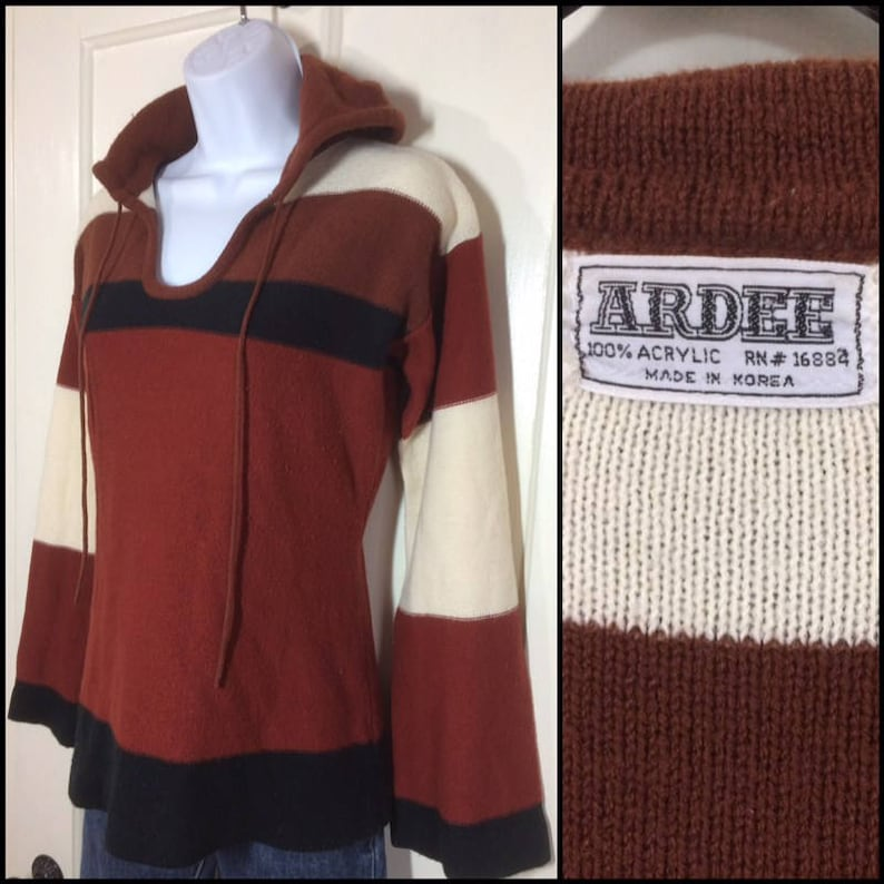 1970s thin knit hooded pullover sweater looks size medium hoodie rust brown black cream color wide stripes boho bell sleeve