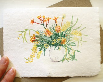 Botanical painting art card, Australian native flowers. Printed on handmade paper with a recycled envelope. Birthday card for mum or friend.