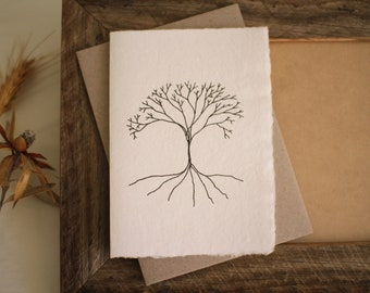 Tree handmade paper card, nature card, recycled envelope