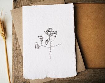 Little Gumnuts handmade paper card. Botanical art card Australian natives. Recycled envelope, eco friendly art. Ink drawing illustration.