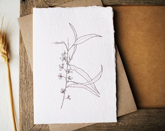 Australian botanical art card with Gum leaves and buds. Recycled handmade paper. Eco friendly card for mum or friend. Card for nature lover.