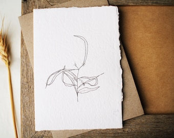 Australian botanical art card with Gum leaves. Recycled handmade paper. Eco friendly card for mum or friend. Card for nature lover.