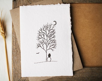 Whimsical art card, with Moon Gazer ink drawing by Cliffwatcher. Printed on handmade paper. Moon and tree art, card for nature lover.