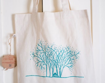 Whimsical Tote Bag fair trade made from organic cotton, printed with tree artwork.