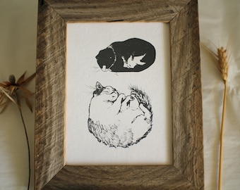 Cats FRAMED print by Cliffwatcher, printed on recycled handmade paper, cat art