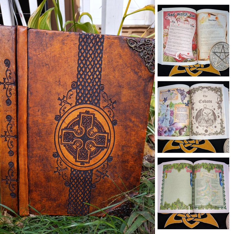 Brown Grimoire Bright color pages Book of Shadows Altar Book Bronze