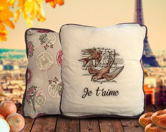Je t'aime Embroidered Cushion