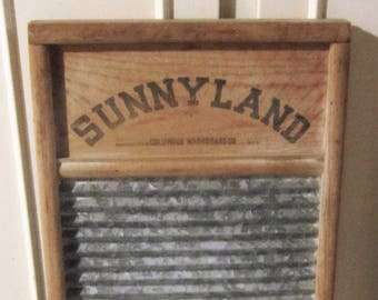 Vintage Sunnyland Wood and Galvanized Metal Washboard #2090 Standard Family Size - Columbus Washboard Co. - Columbus Ohio - Made in USA