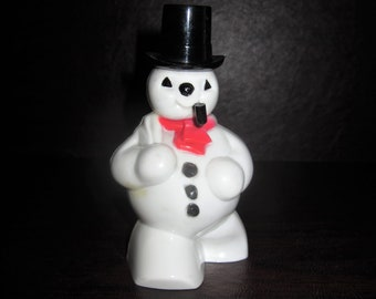 Vintage Snowman White Plastic Bank