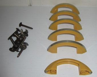 6 NOS Vintage Art Deco Butterscotch Bakelite Drawer Handles Pulls