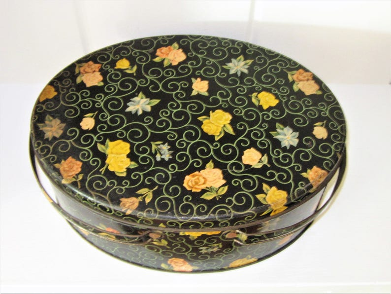 Floral /& Scroll Pattern Shabby Chic Storage Vintage Decorative Tin Container with Handle Dutch Maid
