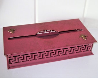 Vintage Deep Pink Metal Tissue Holder with Scroll Cutout Base and Gold Sponge Highlights and Fleur De Le Additions on Top