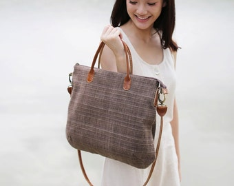Crossbody and Hand Carry Curve Bags Brown  Color Hand woven and Natural dyed cotton.