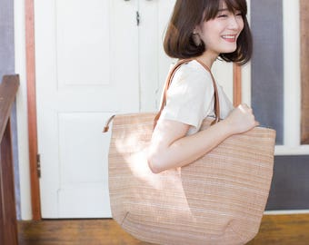 Oversize Sweet Journey Bags Handwoven and Botanical Dyed Cotton Natural-Tan Color