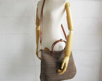 Crossbody Curve Bags Brown Mix Blue Color Hand woven and Natural dyed cotton.