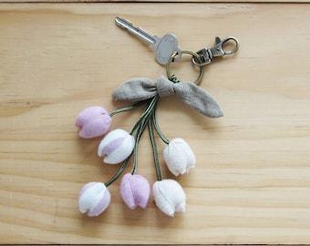 Handmade Six Big Tulips Key Chains Botanical Dyed Cotton.