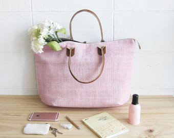 Oversize Sweet Journey Bags Handwoven and Botanical Dyed Cotton Pink Color