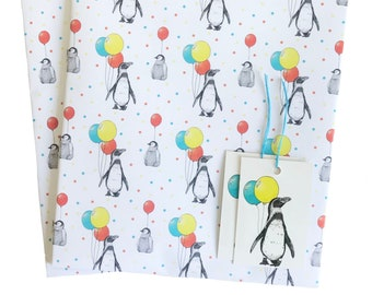 Penguin Plethora Cute Christmas Animal Patterned Gift Wrap  Wrapping Paper