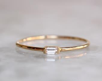 14K Tiny Baguette Diamond Ring