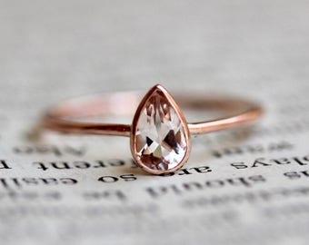 """14K Pear Morganite """"Rarity"""" Ring"""